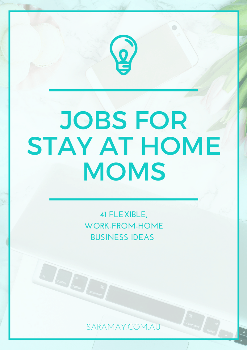 A list of 41 jobs for stay at home moms. These jobs and business ideas offer flexible working hours and the opportunity to work from home.
